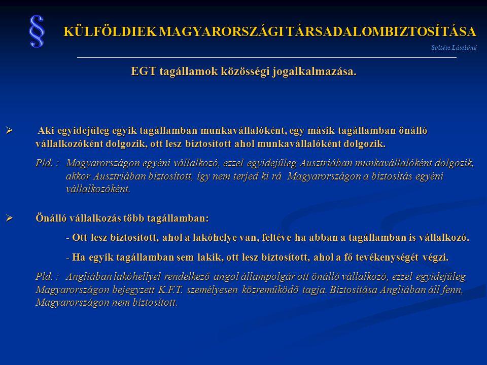 KÜLFÖLDIEK MAGYARORSZÁGI TÁRSADALOMBIZTOSÍTÁSA Soltész Lászlóné EGT tagállamok közösségi jogalkalmazása.  Aki egyidejűleg egyik tagállamban munkaváll