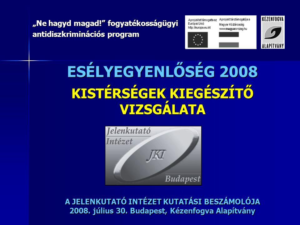 """ESÉLYEGYENLŐSÉG 2008 KISTÉRSÉGEK KIEGÉSZÍTŐ VIZSGÁLATA A JELENKUTATÓ INTÉZET KUTATÁSI BESZÁMOLÓJA 2008. július 30. Budapest, Kézenfogva Alapítvány """"Ne"""