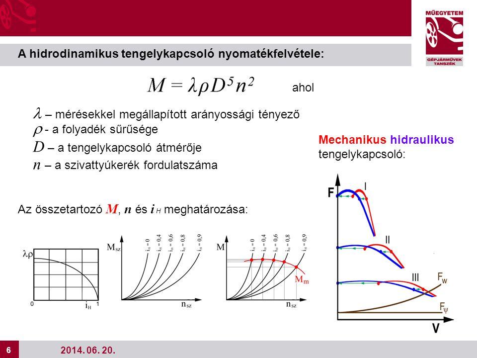 """7 7 Hidrodinamikus nyomatékváltó Karakterisztikája: Az összetartozó M, n és i H meghatározása hasonló a tengelykapcsolóéval (""""seprűdiagram ) azzal a különbséggel, hogy a k H nyomatékmódosítást is figyelembe kell venni."""