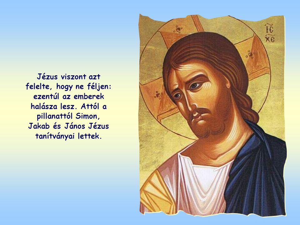 Ennek láttára Simon, társaival, Jakabbal és Jánossal együtt annyira megdöbbent, hogy Jézus lábaihoz vetette magát, kérve, hogy távozzon tőle, bűnös em