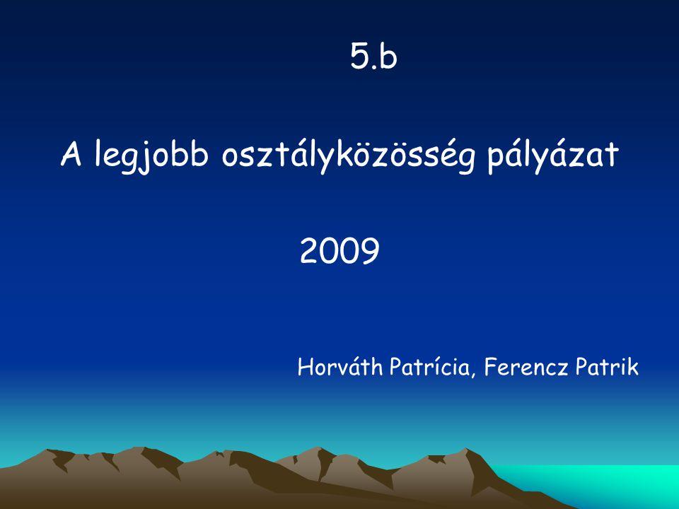 5.b A legjobb osztályközösség pályázat 2009 Horváth Patrícia, Ferencz Patrik