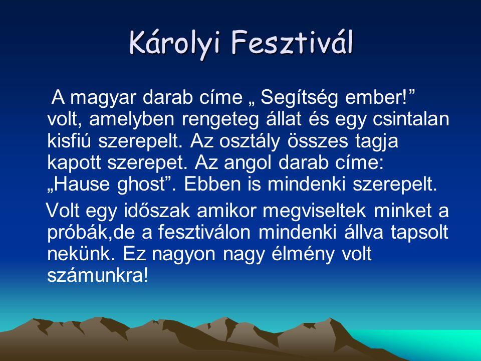 """Károlyi Fesztivál A magyar darab címe """" Segítség ember!"""" volt, amelyben rengeteg állat és egy csintalan kisfiú szerepelt. Az osztály összes tagja kapo"""