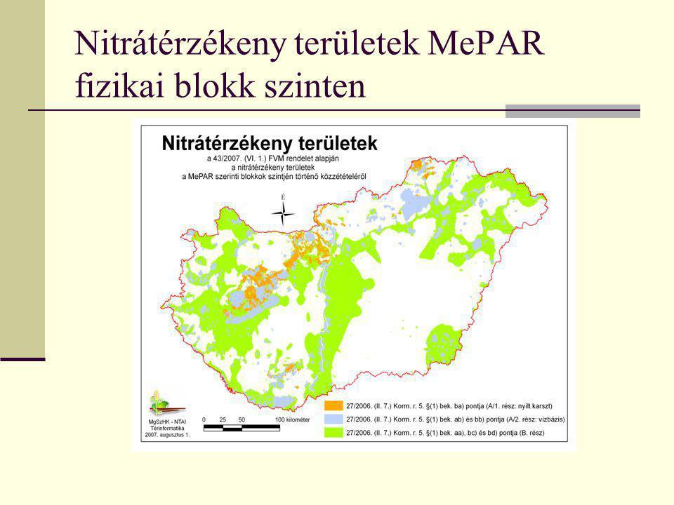Nitrátérzékeny területek MePAR fizikai blokk szinten