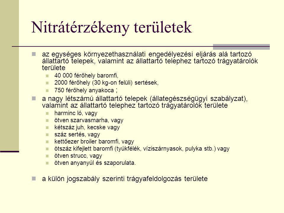 Nitrátérzékeny területek  az egységes környezethasználati engedélyezési eljárás alá tartozó állattartó telepek, valamint az állattartó telephez tarto