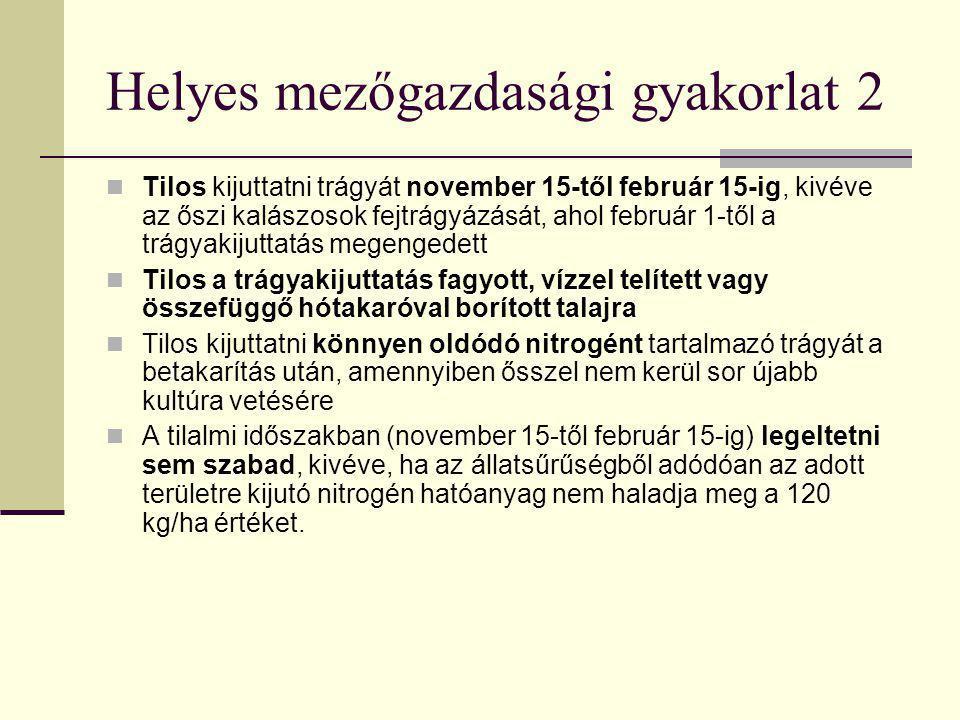 Helyes mezőgazdasági gyakorlat 2  Tilos kijuttatni trágyát november 15-től február 15-ig, kivéve az őszi kalászosok fejtrágyázását, ahol február 1-tő