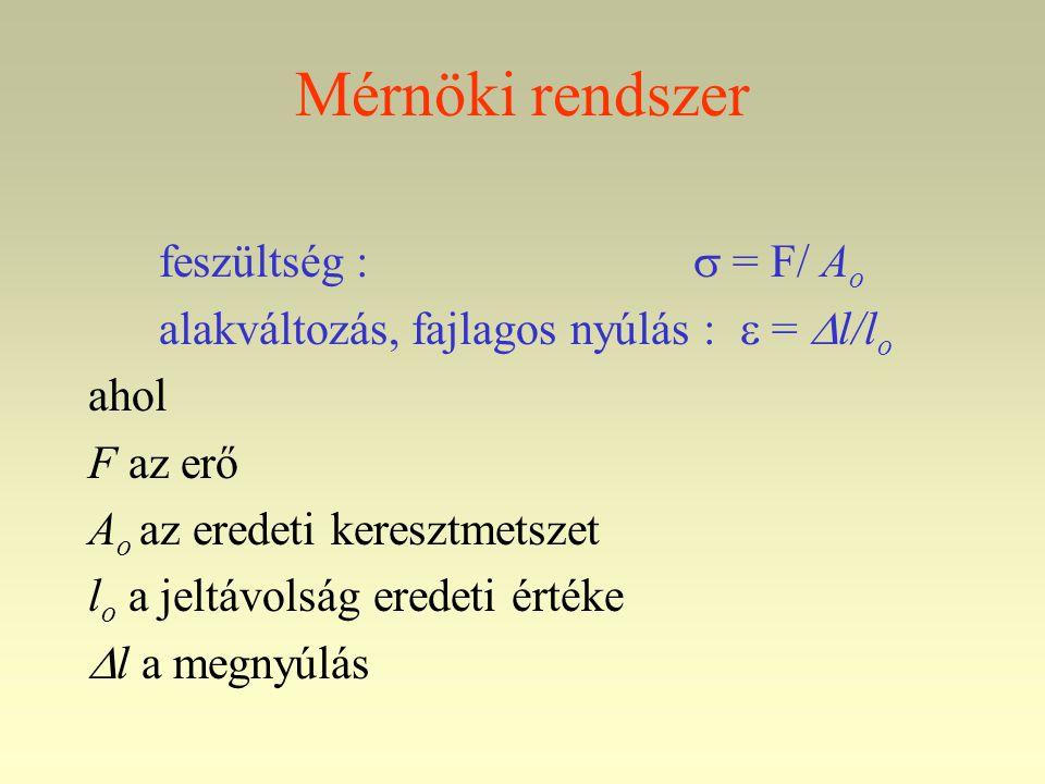 Mérnöki rendszer feszültség :  = F/ A o alakváltozás, fajlagos nyúlás :  =  l/l o ahol F az erő A o az eredeti keresztmetszet l o a jeltávolság eredeti értéke  l a megnyúlás
