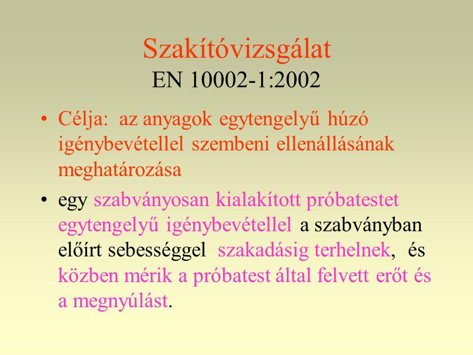 Szakítóvizsgálat EN 10002-1:2002 •Célja: az anyagok egytengelyű húzó igénybevétellel szembeni ellenállásának meghatározása •egy szabványosan kialakíto