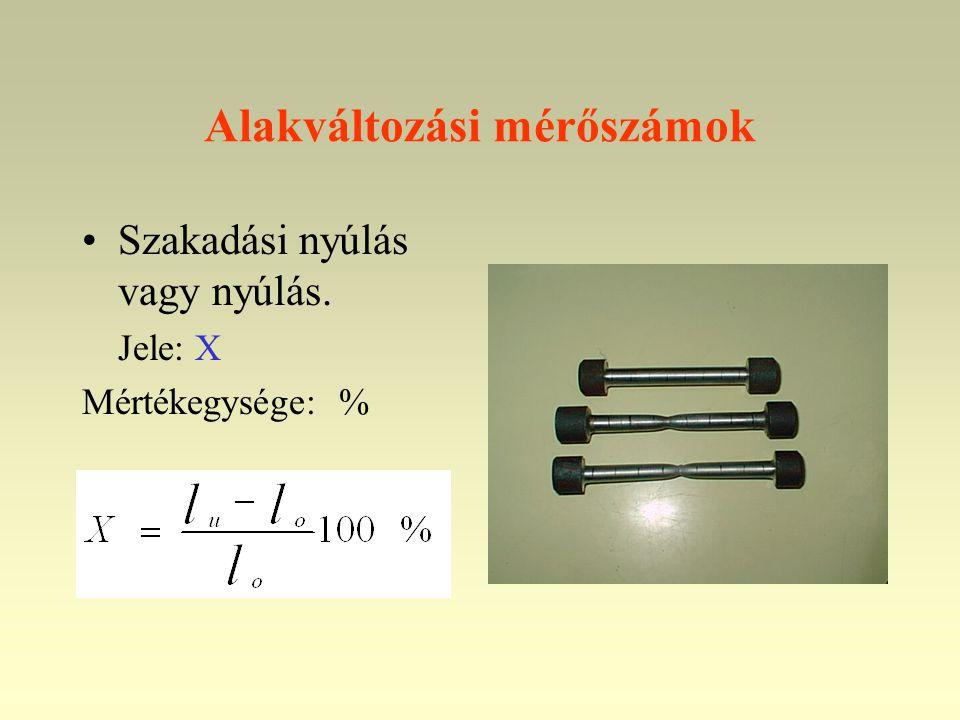 Alakváltozási mérőszámok •Szakadási nyúlás vagy nyúlás. Jele: X Mértékegysége: %