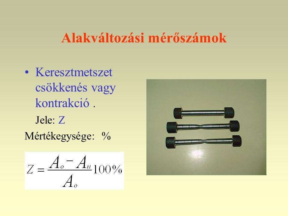 Alakváltozási mérőszámok •Keresztmetszet csökkenés vagy kontrakció. Jele: Z Mértékegysége: %