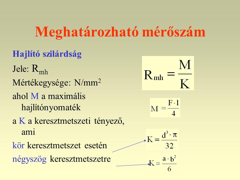 Meghatározható mérőszám Hajlító szilárdság Jele: R mh Mértékegysége: N/mm 2 ahol M a maximális hajlítónyomaték a K a keresztmetszeti tényező, ami kör