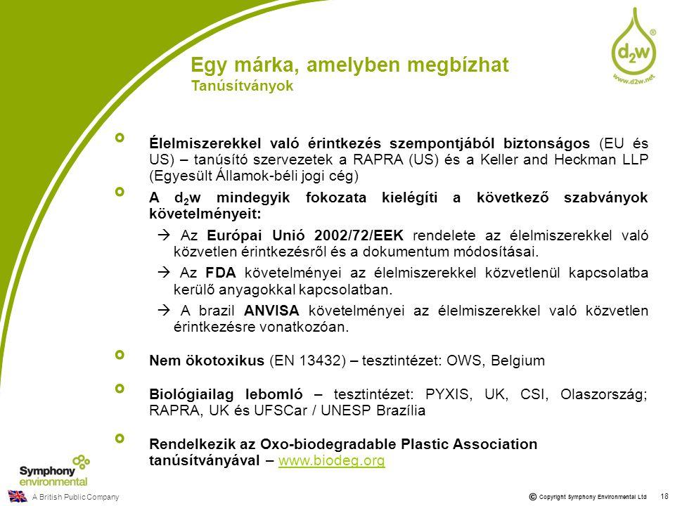 A British Public Company Copyright Symphony Environmental Ltd 18 Egy márka, amelyben megbízhat Tanúsítványok Élelmiszerekkel való érintkezés szempontj