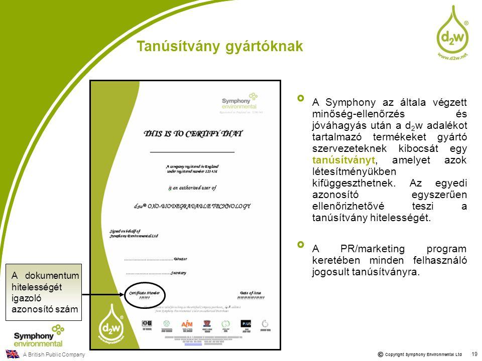 A British Public Company Copyright Symphony Environmental Ltd 19 Tanúsítvány gyártóknak A Symphony az általa végzett minőség-ellenőrzés és jóváhagyás