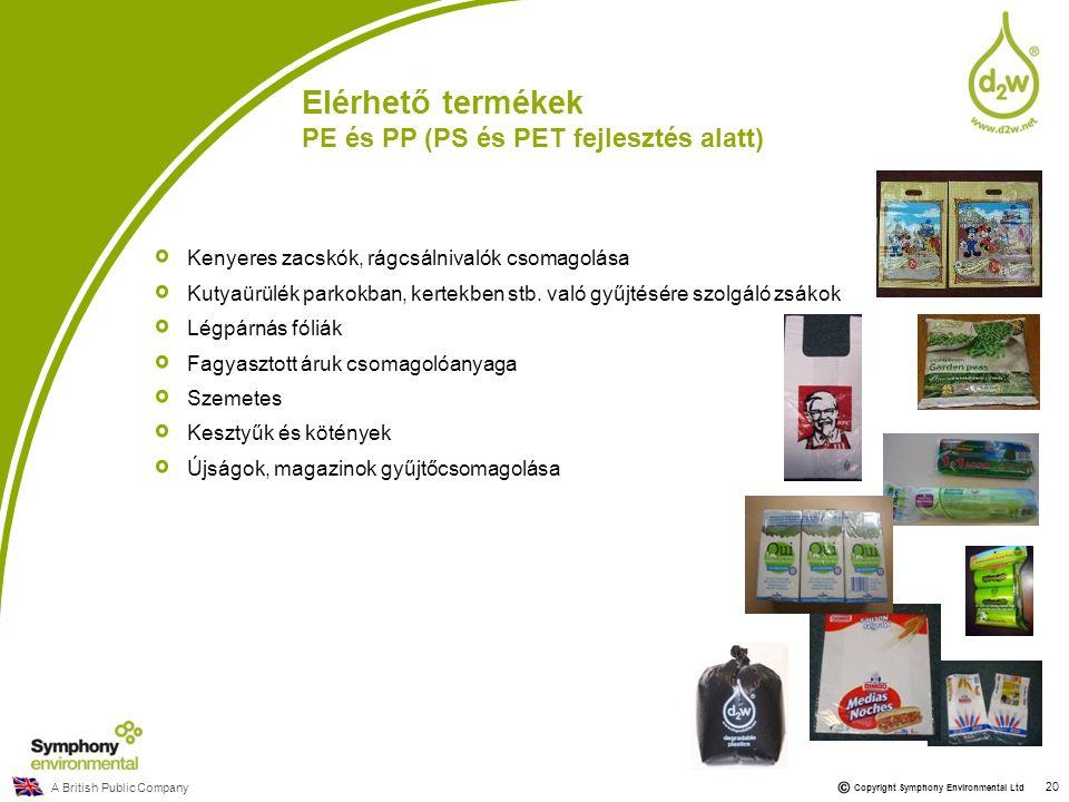 A British Public Company Copyright Symphony Environmental Ltd 20 Elérhető termékek PE és PP (PS és PET fejlesztés alatt) Kenyeres zacskók, rágcsálniva