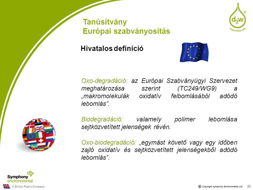 """A British Public Company Copyright Symphony Environmental Ltd Oxo-degradáció: az Európai Szabványügyi Szervezet meghatározása szerint (TC249/WG9) a """"m"""