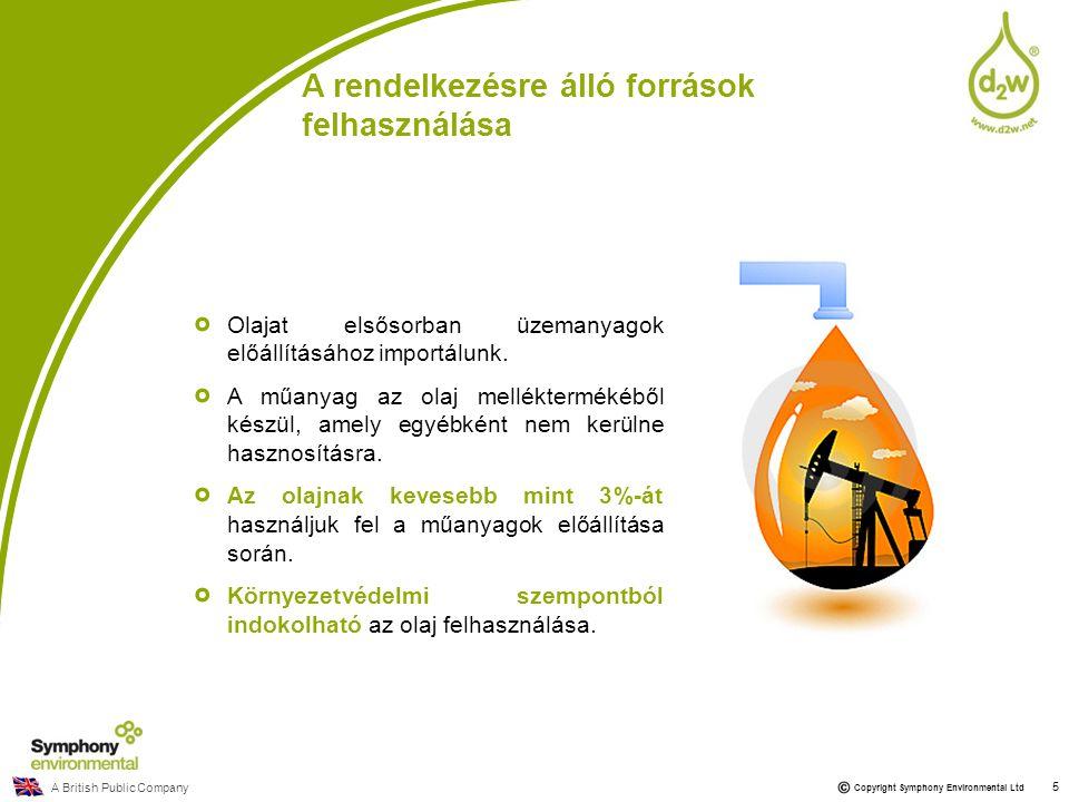 Copyright Symphony Environmental Ltd Olajat elsősorban üzemanyagok előállításához importálunk. A műanyag az olaj melléktermékéből készül, amely egyébk