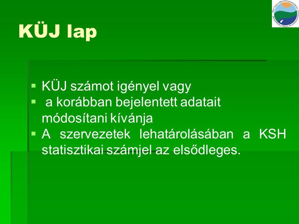 KTJ lap   KTJ számot igényel,   a korábban bejelentett adatokat módosítani kívánja   több KTJ lapot is el lehet helyezni   KTJ lapot kell kitölteni a telephelyről, valamint a telephelyen belüli objektumról, és azokat az OBJ lapon egymáshoz kell rendelni   Változásjelentés esetén – a helyrajzi szám mező kivételével minden mezőjét ki kell tölteni