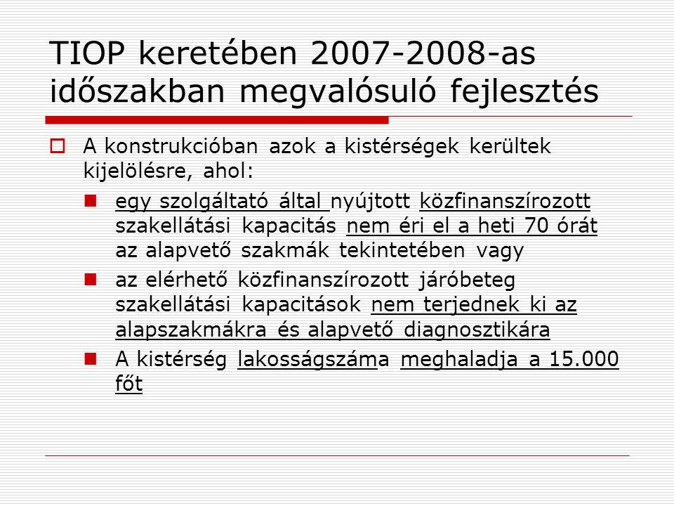 TIOP keretében 2007-2008-as időszakban megvalósuló fejlesztés  A konstrukcióban azok a kistérségek kerültek kijelölésre, ahol:  egy szolgáltató álta