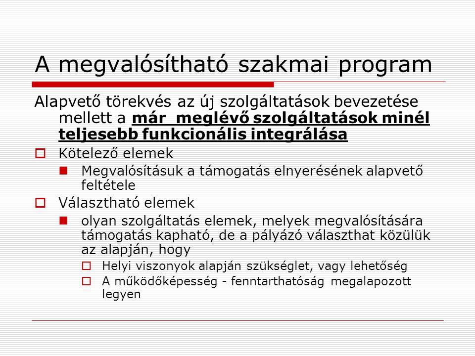 A megvalósítható szakmai program Alapvető törekvés az új szolgáltatások bevezetése mellett a már meglévő szolgáltatások minél teljesebb funkcionális i