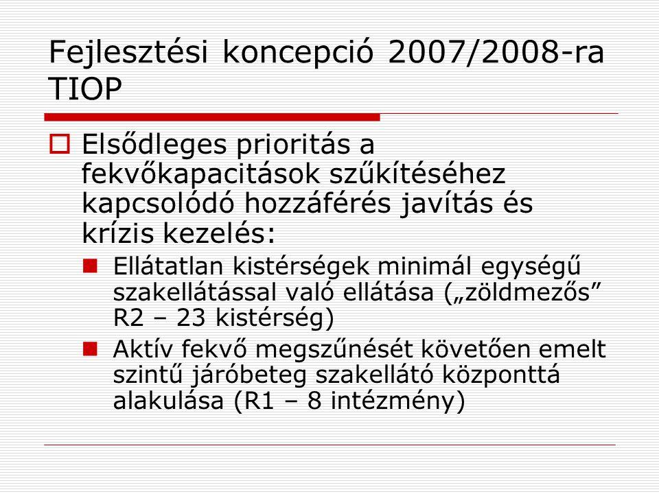 Fejlesztési koncepció 2007/2008-ra ROP  Alapvetően a jelenleg már működő járóbeteg szakellátások fejlesztése  Elsődleges prioritás, a nem elégséges kapacitással működő szakellátások felfejlesztése a minimál standard (R2) szintjére  Emelt szintű járók (R1) kialakítása ott, ahol hozzáférés és/vagy lakosságszám alapján ez indokolt