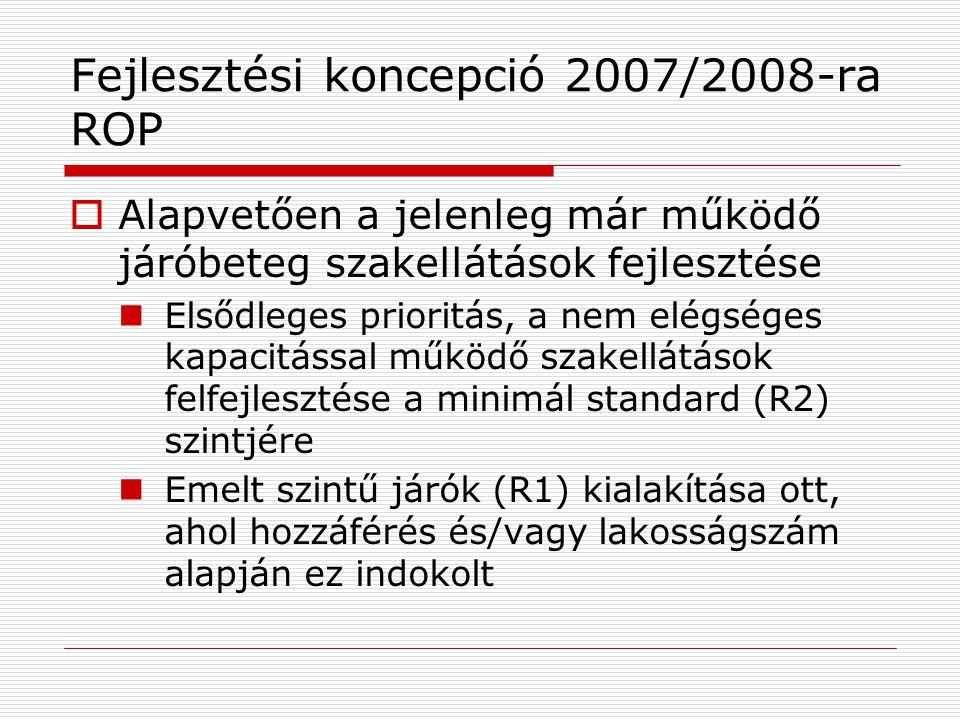 Fejlesztési koncepció 2007/2008-ra ROP  Alapvetően a jelenleg már működő járóbeteg szakellátások fejlesztése  Elsődleges prioritás, a nem elégséges