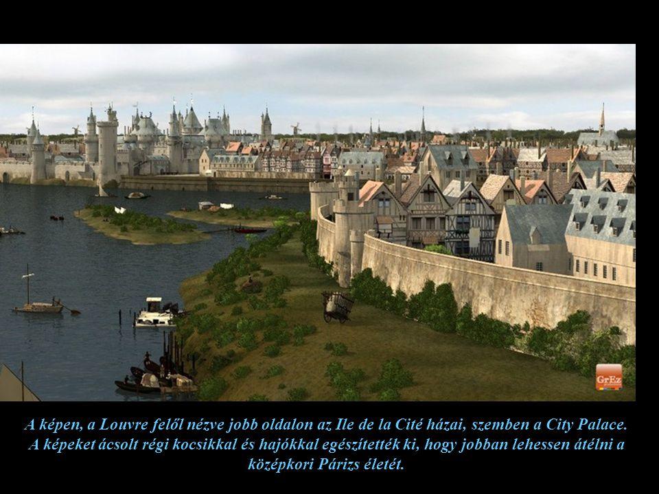 A Château du Louvre nyugat felől védte a várost, a Szajna másik partján lévő erőddel (ma már nem létezik) le lehetett zárni a folyót. A képről hiányzi