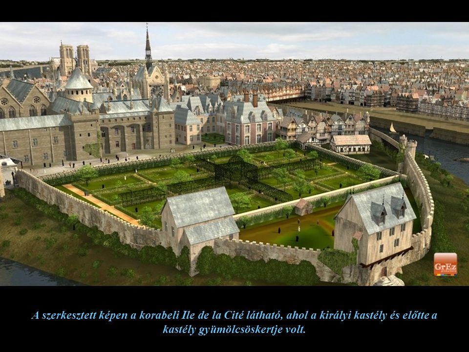 A szerkesztett képen a Place de Greve 1550-ben, ami most a Place de l'Hotel de Ville, egy fontos kereskedelmi kikötő. Ez a tér ünnepek és kivégzések h