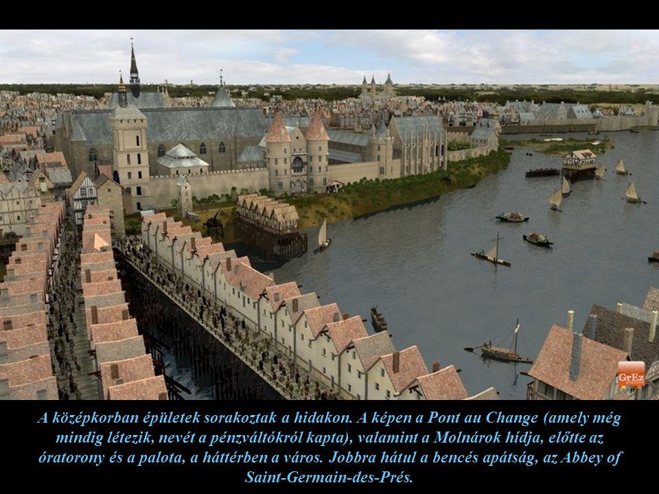 A szerkesztett képen a korabeli Ile de la Cité látható, ahol a királyi kastély és előtte a kastély gyümölcsöskertje volt.