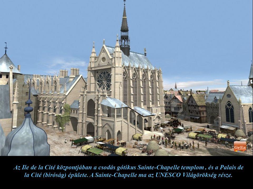 A képen a Palais de la Cité középkori változatban. Ez volt a francia királyok székhelye a X-XIV. században, ma bíróság.