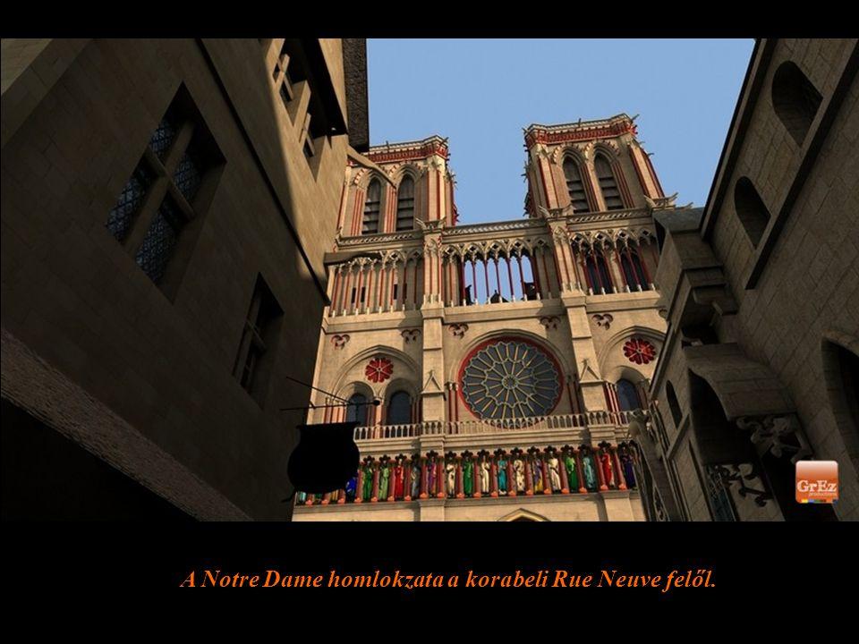 A Notre-Dame a madártávlatból. Jól látható, hogy a középkorban az előtte levő téren fesztiválok és piacok kaptak helyet.