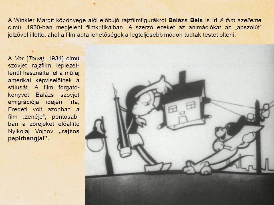 A Winkler Margit köpönyege alól előbújó rajzfilmfigurákról Balázs Béla is írt A film szelleme című, 1930-ban megjelent filmkritikáiban. A szerző ezeke
