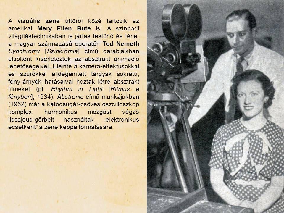 A vizuális zene úttörői közé tartozik az amerikai Mary Ellen Bute is. A színpadi világítástechnikában is jártas festőnő és férje, a magyar származású