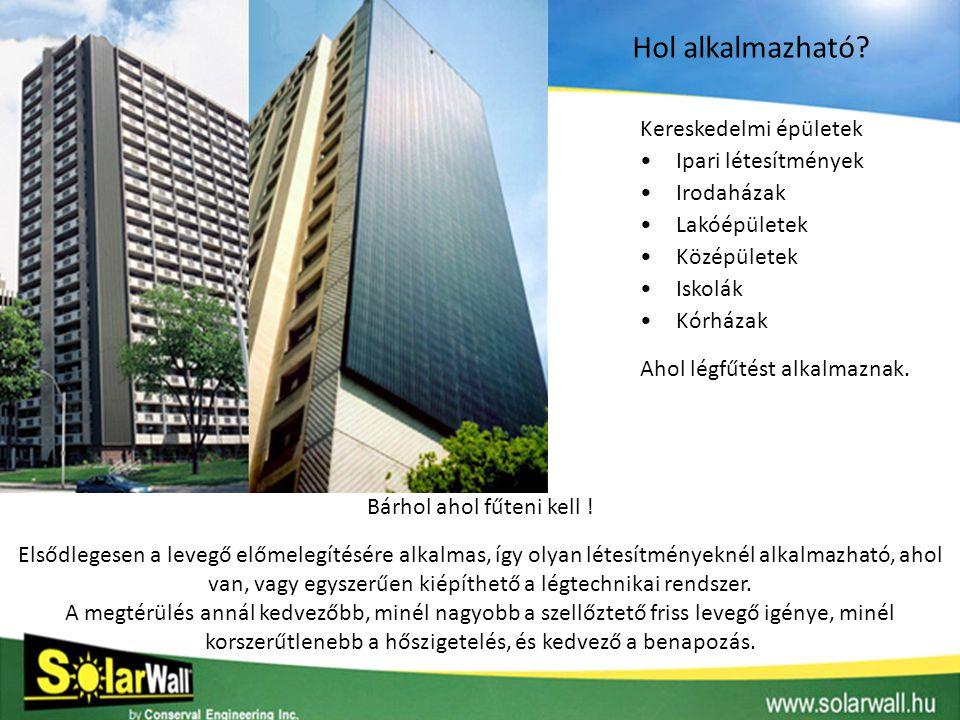 Kereskedelmi épületek •Ipari létesítmények •Irodaházak •Lakóépületek •Középületek •Iskolák •Kórházak Alkalmazási példák