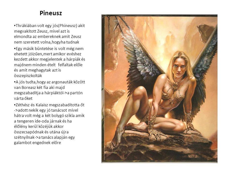 Pineusz • Thrákiában volt egy jós(Phineusz) akit megvakított Zeusz, mivel azt is elmondta az embereknek amit Zeusz nem szeretett volna,hogyha tudnak •