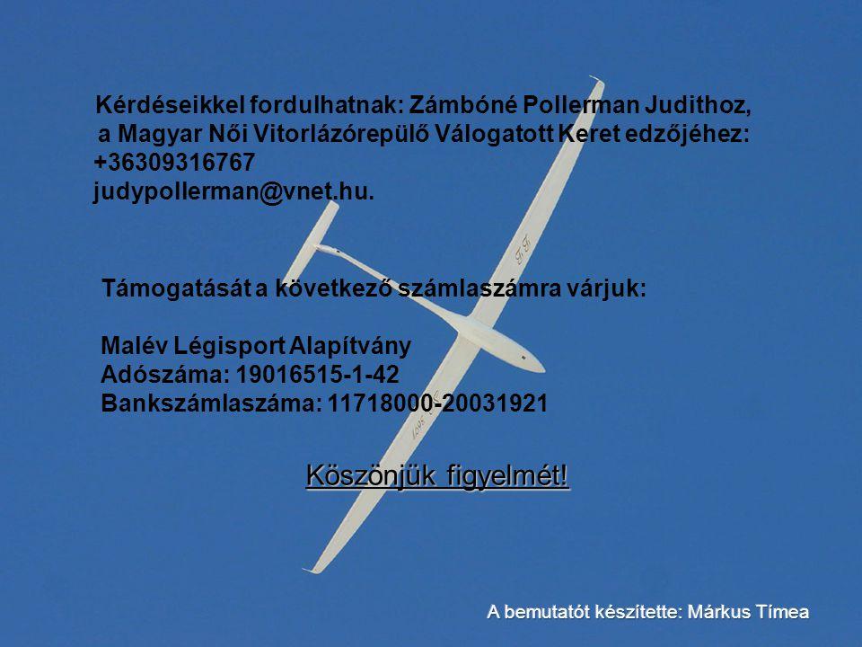 Kérdéseikkel fordulhatnak: Zámbóné Pollerman Judithoz, a Magyar Női Vitorlázórepülő Válogatott Keret edzőjéhez: +36309316767 judypollerman@vnet.hu.