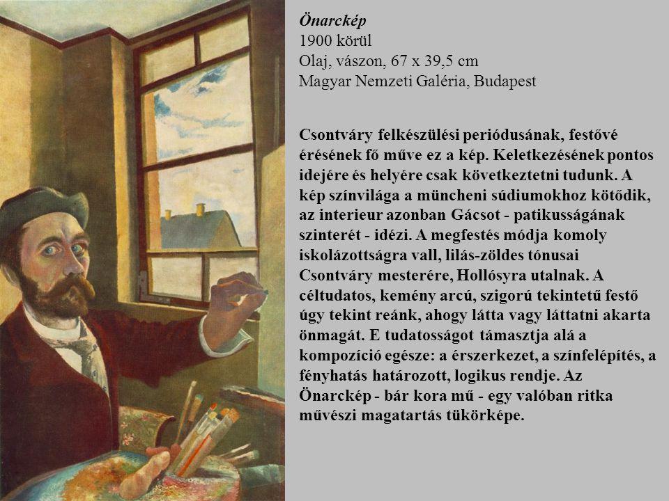 Önarckép 1900 körül Olaj, vászon, 67 x 39,5 cm Magyar Nemzeti Galéria, Budapest Csontváry felkészülési periódusának, festővé érésének fő műve ez a kép.