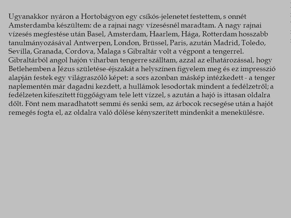 Ugyanakkor nyáron a Hortobágyon egy csíkós-jelenetet festettem, s onnét Amsterdamba készültem: de a rajnai nagy vízesésnél maradtam.