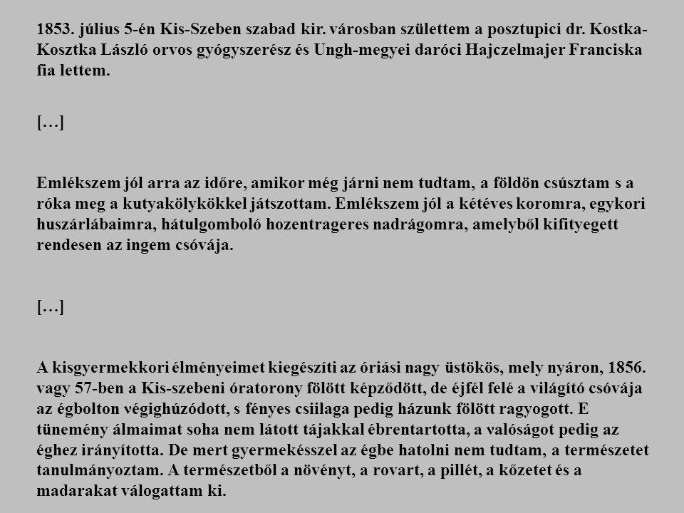 1853. július 5-én Kis-Szeben szabad kir. városban születtem a posztupici dr. Kostka- Kosztka László orvos gyógyszerész és Ungh-megyei daróci Hajczelma