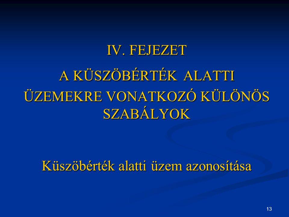 13 IV. FEJEZET A KÜSZÖBÉRTÉK ALATTI ÜZEMEKRE VONATKOZÓ KÜLÖNÖS SZABÁLYOK Küszöbérték alatti üzem azonosítása