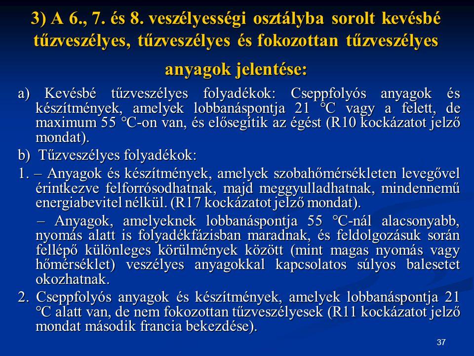 37 3) A 6., 7. és 8. veszélyességi osztályba sorolt kevésbé tűzveszélyes, tűzveszélyes és fokozottan tűzveszélyes anyagok jelentése: a) Kevésbé tűzves