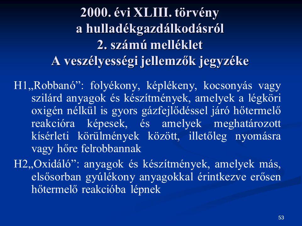 """53 2000. évi XLIII. törvény a hulladékgazdálkodásról 2. számú melléklet A veszélyességi jellemzők jegyzéke H1""""Robbanó"""": folyékony, képlékeny, kocsonyá"""