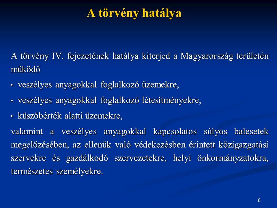 6 A törvény hatálya A törvény IV. fejezetének hatálya kiterjed a Magyarország területén működő • veszélyes anyagokkal foglalkozó üzemekre, • veszélyes