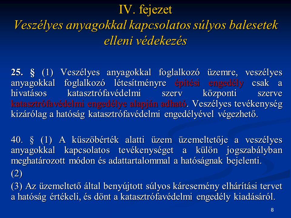 8 IV. fejezet Veszélyes anyagokkal kapcsolatos súlyos balesetek elleni védekezés 25. § (1) Veszélyes anyagokkal foglalkozó üzemre, veszélyes anyagokka