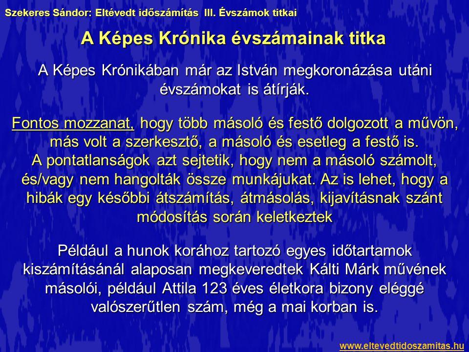 A Képes Krónikában már az István megkoronázása utáni évszámokat is átírják.