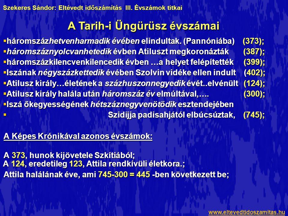 Attila valószerűtlen életkorának jelenléte arra enged következtetni, hogy számainak egy része Kálti Márk Képes Krónikájából származik, mivel ott levezethető az eredete a 172-es számból, míg a Tarih-i Üngürüszben nem fedezhető fel hasonló kapcsolat.