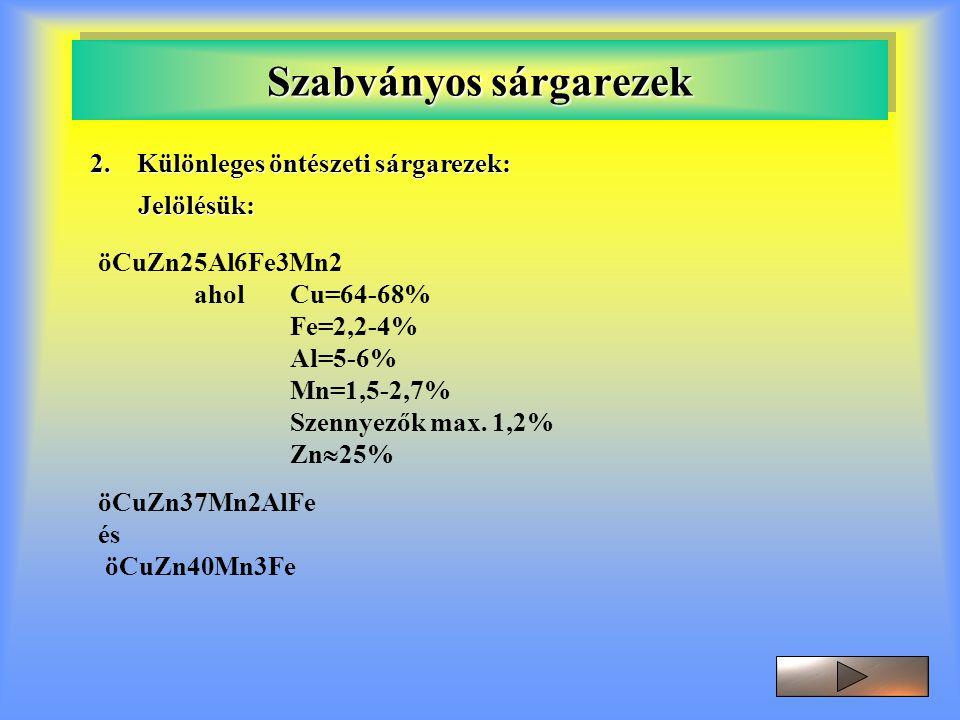 Szabványos sárgarezek 2. Különleges öntészeti sárgarezek: Jelölésük: öCuZn25Al6Fe3Mn2 aholCu=64-68% Fe=2,2-4% Al=5-6% Mn=1,5-2,7% Szennyezők max. 1,2%