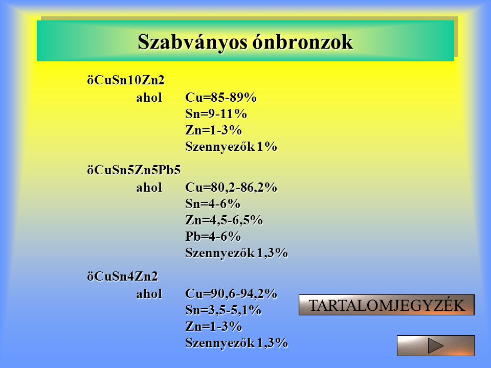 Szabványos ónbronzok öCuSn10Zn2 aholCu=85-89% Sn=9-11%Zn=1-3% Szennyezők 1% öCuSn5Zn5Pb5 aholCu=80,2-86,2% Sn=4-6%Zn=4,5-6,5%Pb=4-6% Szennyezők 1,3% ö
