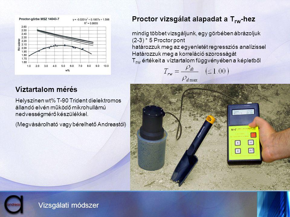 Vizsgálati módszer Proctor vizsgálat alapadat a T rw -hez mindig többet vizsgáljunk, egy görbében ábrázoljuk (2-3) * 5 Proctor pont határozzuk meg az