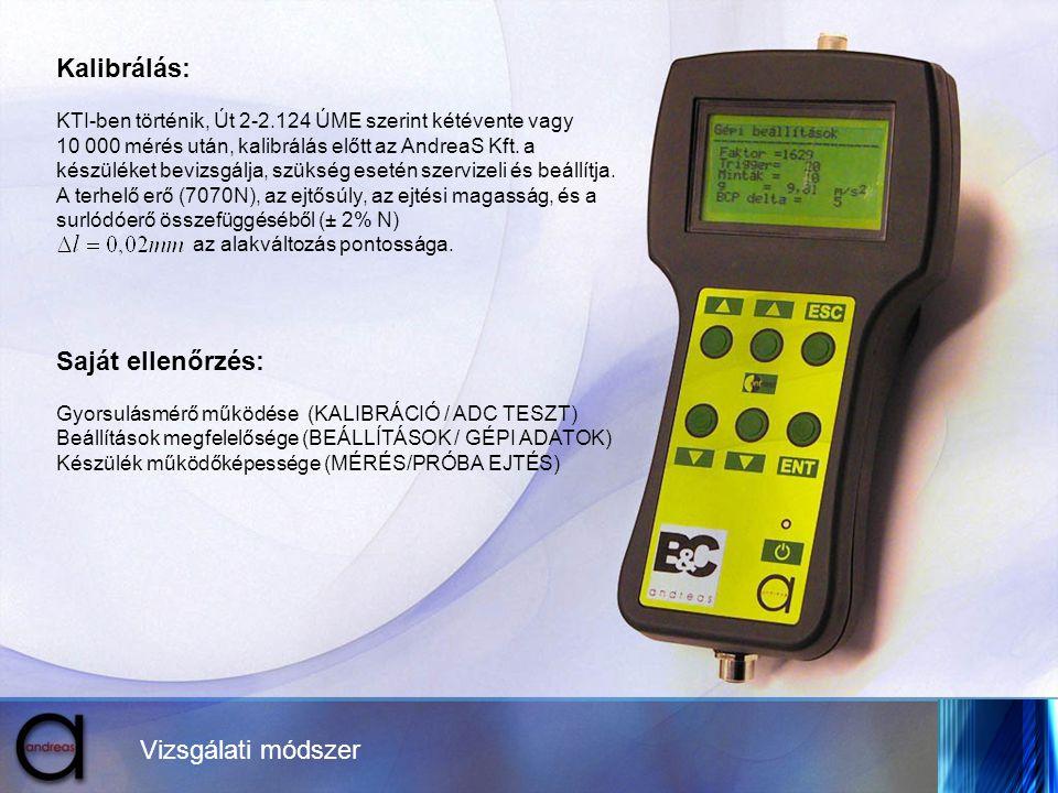 Vizsgálati módszer Kalibrálás: KTI-ben történik, Út 2-2.124 ÚME szerint kétévente vagy 10 000 mérés után, kalibrálás előtt az AndreaS Kft. a készüléke