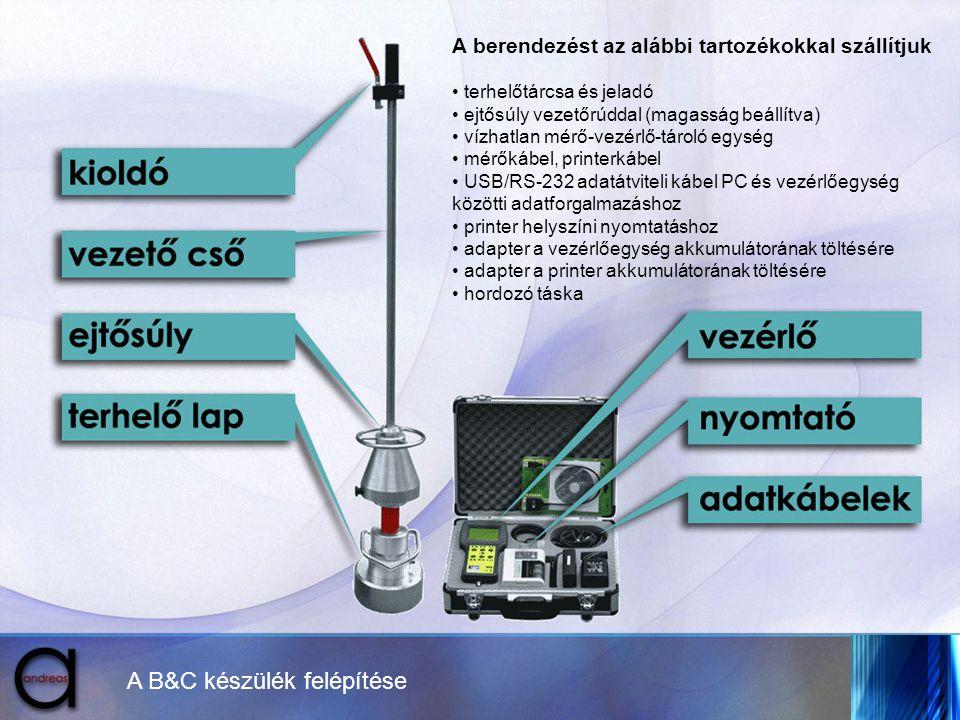A B&C készülék felépítése A berendezést az alábbi tartozékokkal szállítjuk • terhelőtárcsa és jeladó • ejtősúly vezetőrúddal (magasság beállítva) • ví