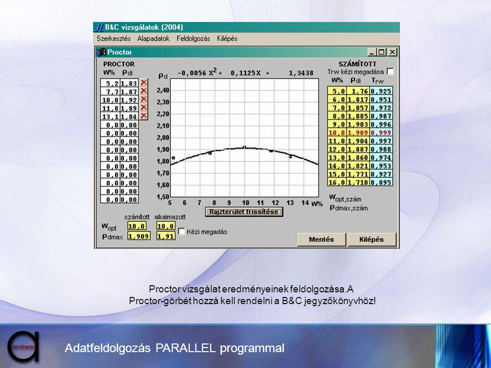 Adatfeldolgozás PARALLEL programmal Proctor vizsgálat eredményeinek feldolgozása.A Proctor-görbét hozzá kell rendelni a B&C jegyzőkönyvhöz!